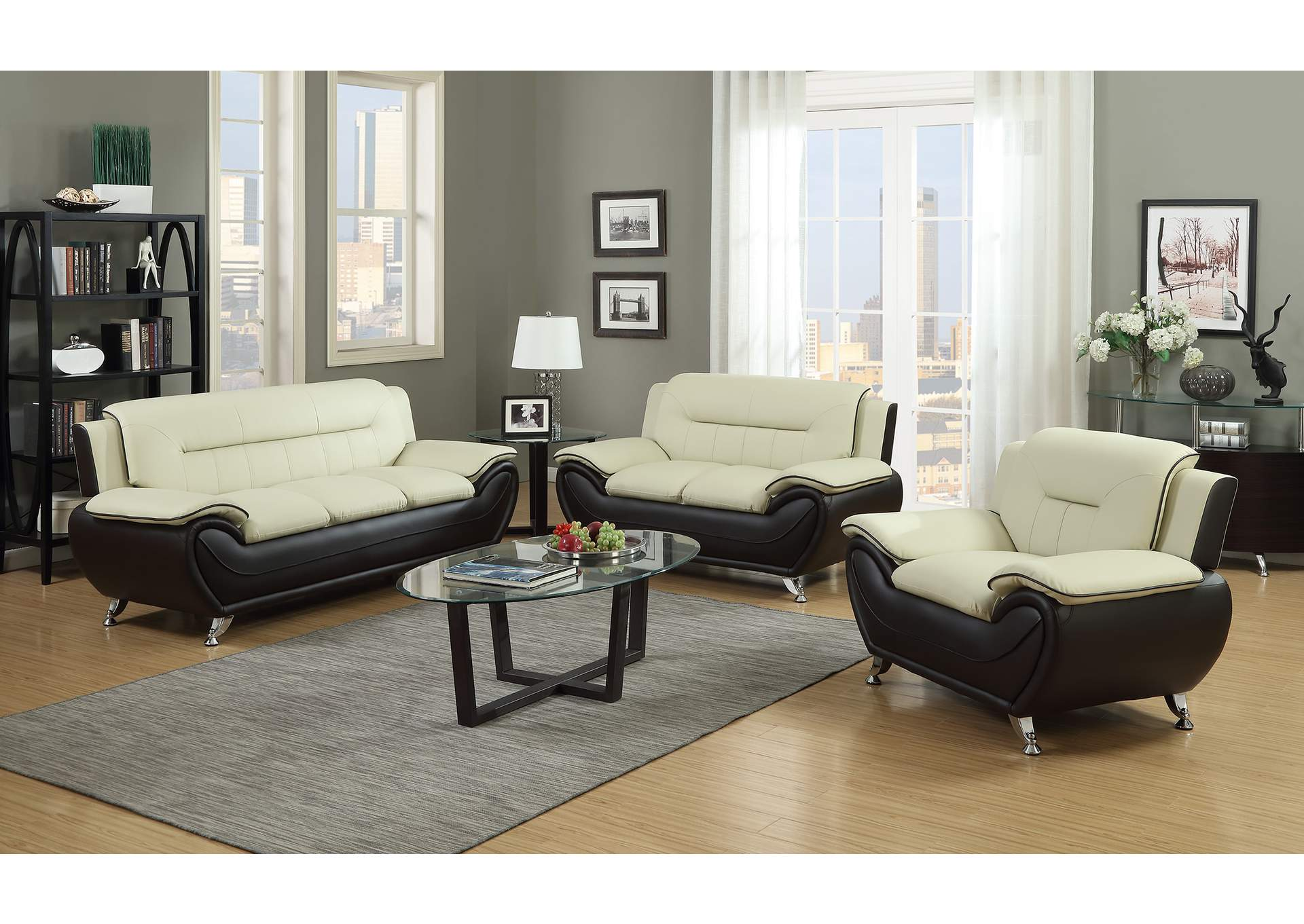 Beige & Brown Sofa, Loveseat & Chair,Global Trading