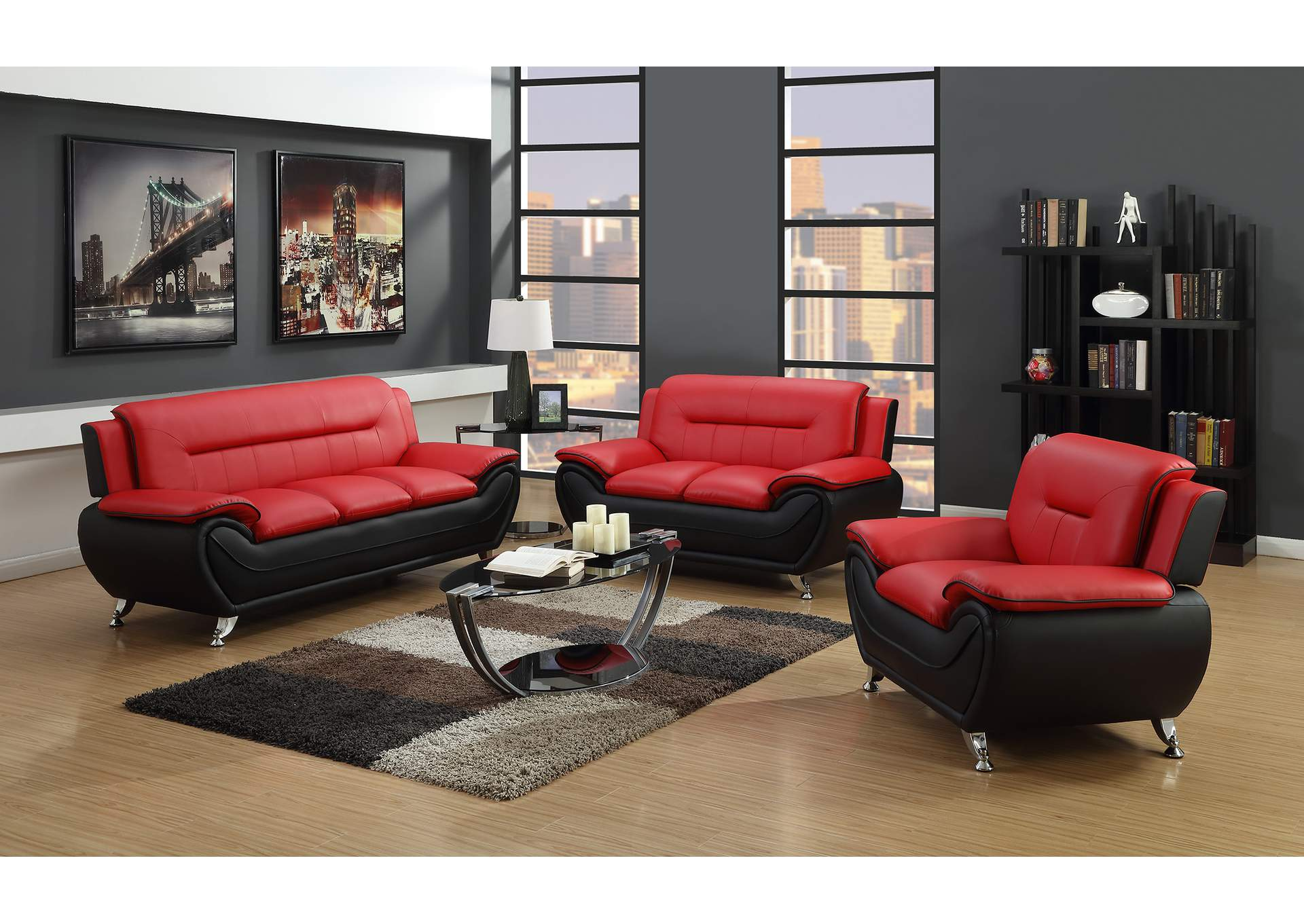 Red & Black Sofa & Loveseat,Global Trading
