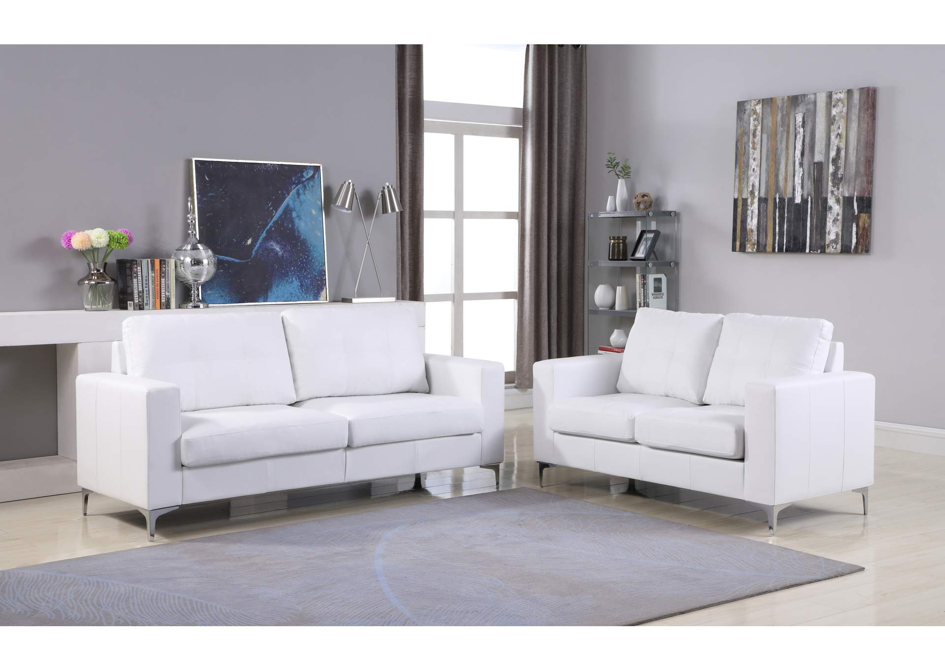 White Sofa & Loveseat With Chrome Leg,Global Trading