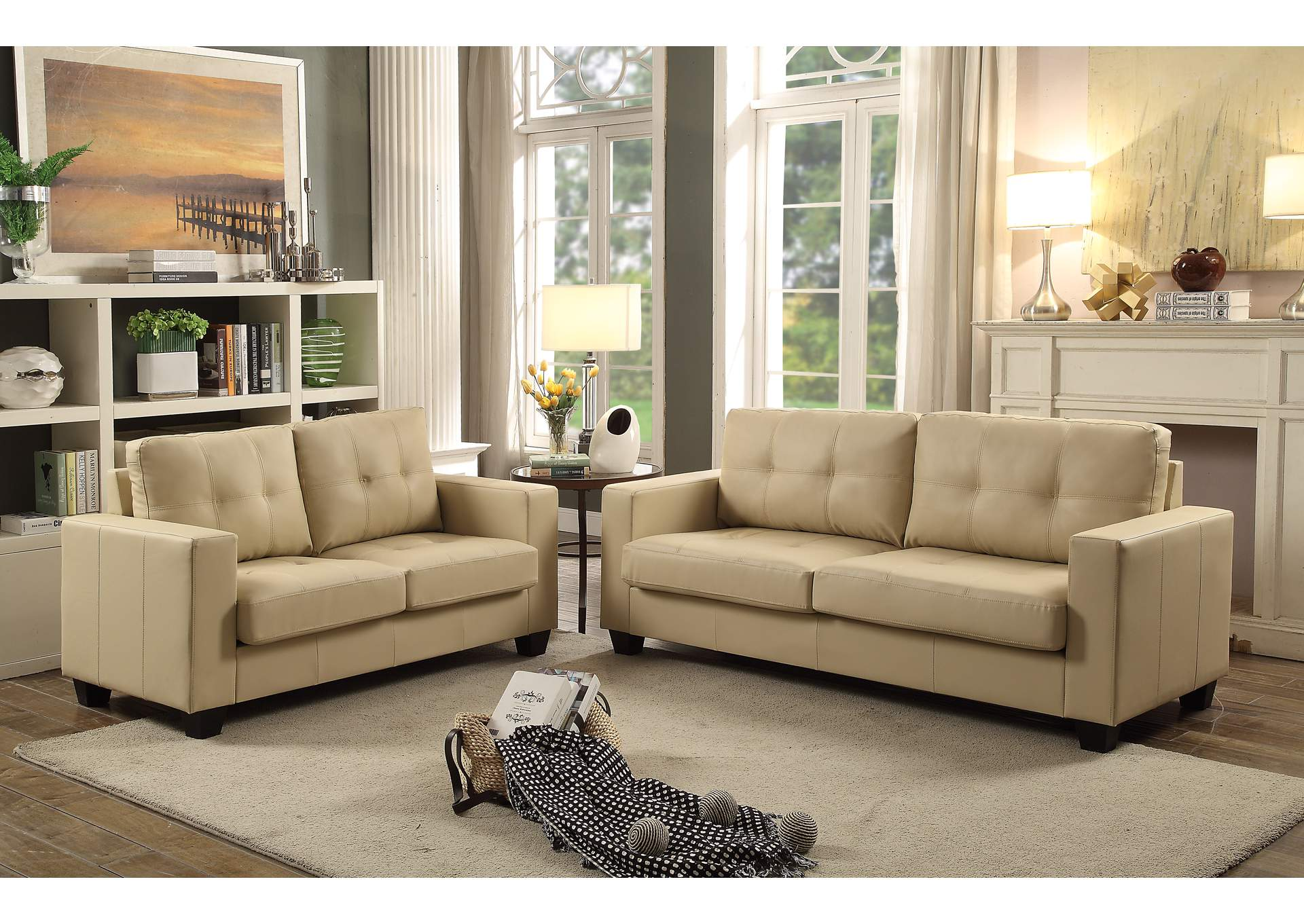 Beige Contemporary Leather Sofa & Loveseat,Global Trading