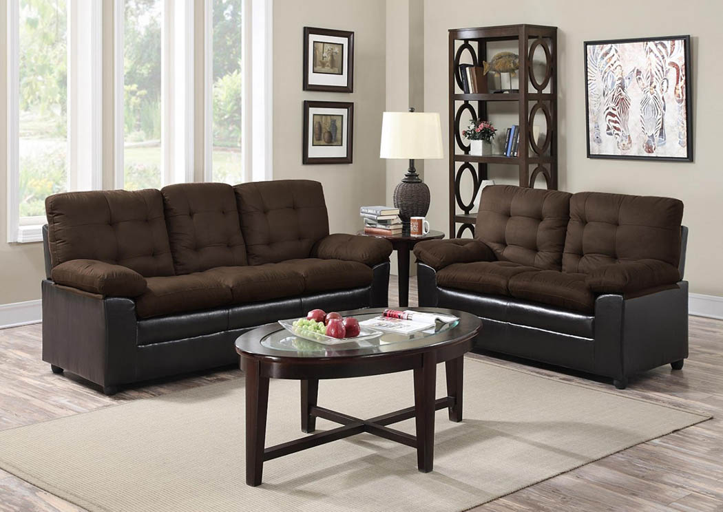 Chocolate Microfiber Sofa & Loveseat,Global Trading