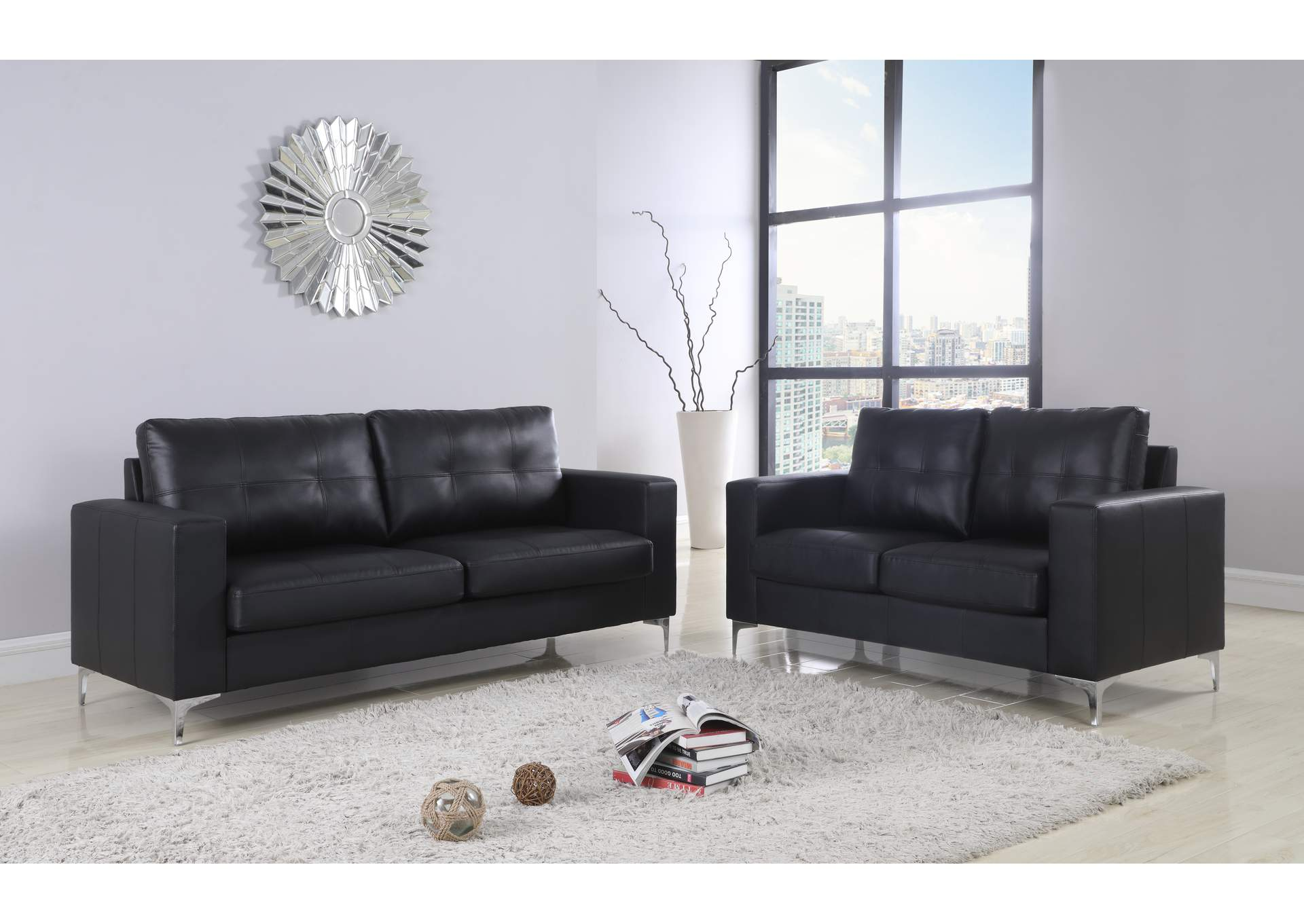 Black Contemporary Leather Loveseat With Chrome Leg,Global Trading