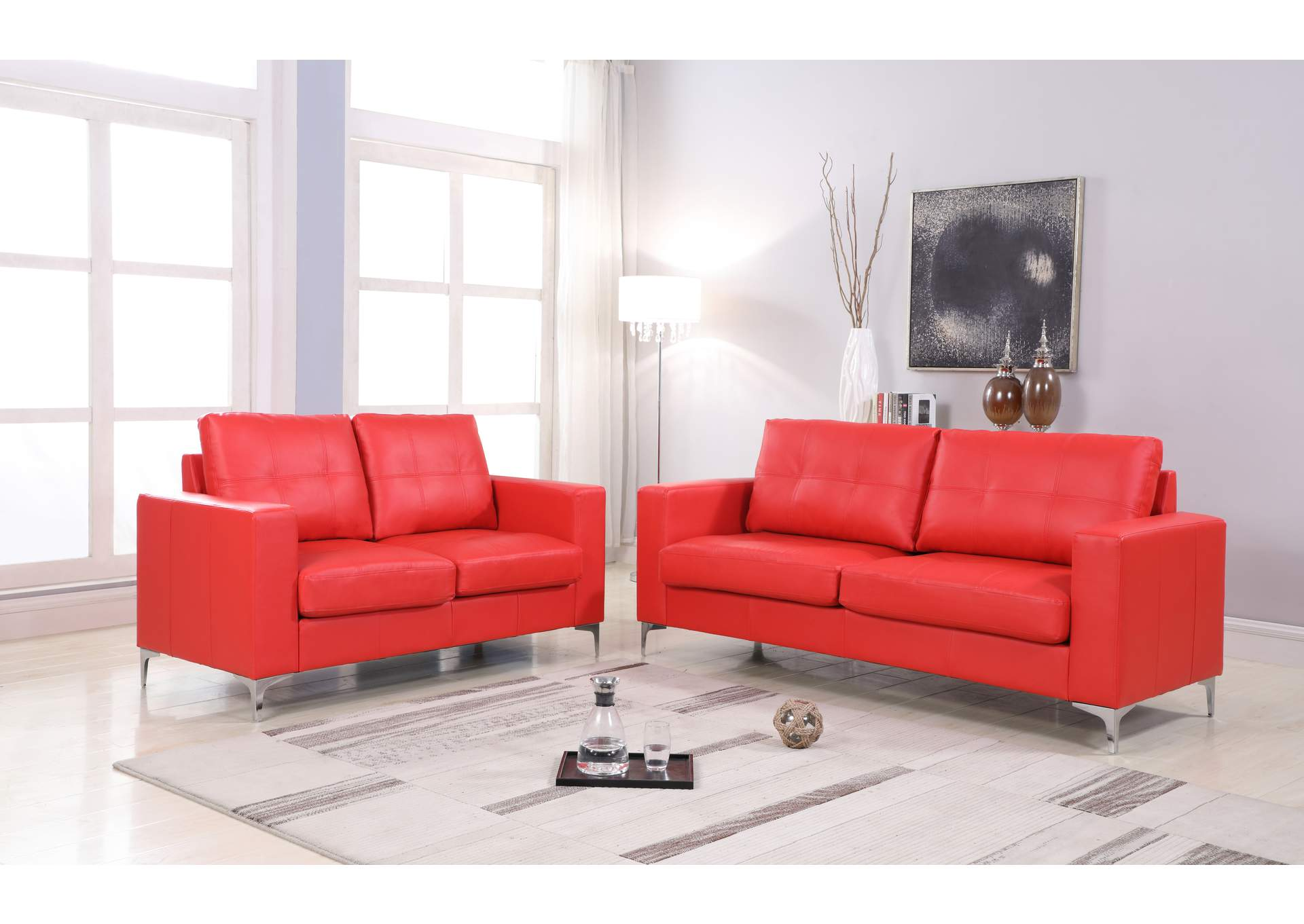 Red Contemporary Leather Loveseat (Red) With Chrome Leg,Global Trading