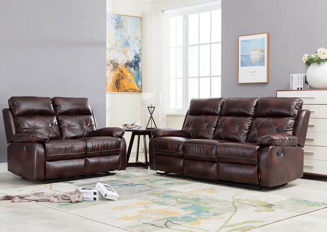 Mahogany Reclining Sofa,Global Trading