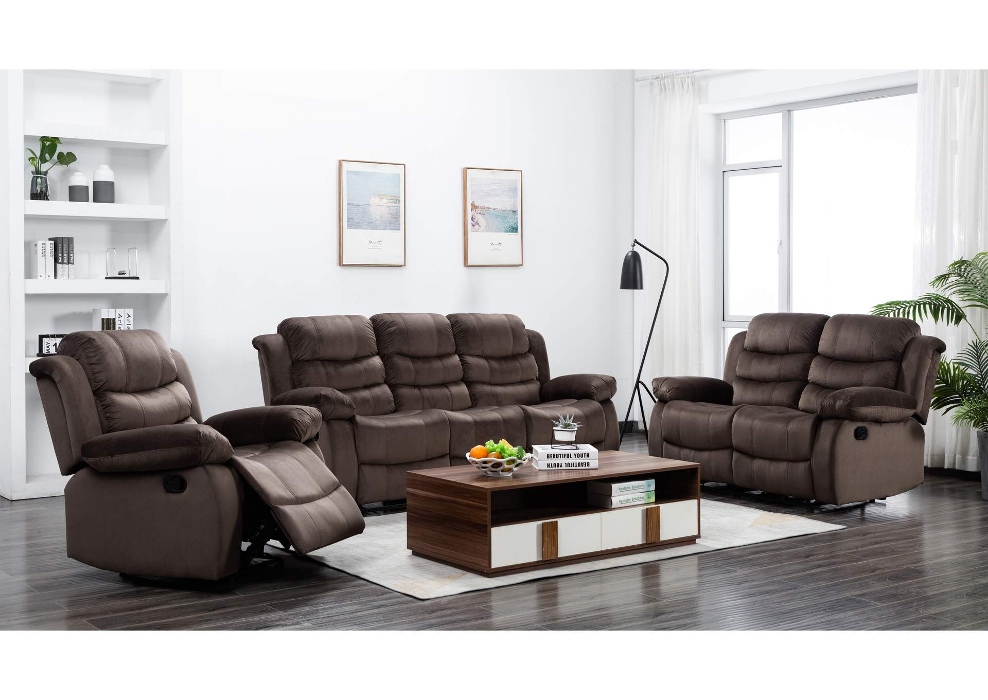 Cocoa Short Plush Reclining Sofa & Loveseat,Global Trading