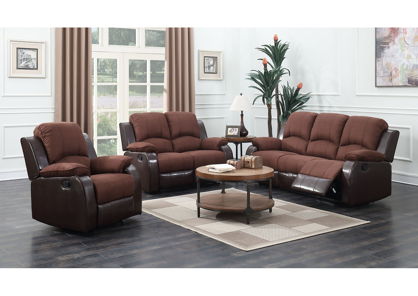 Brown Reclining Sofa & Loveseat,Global Trading