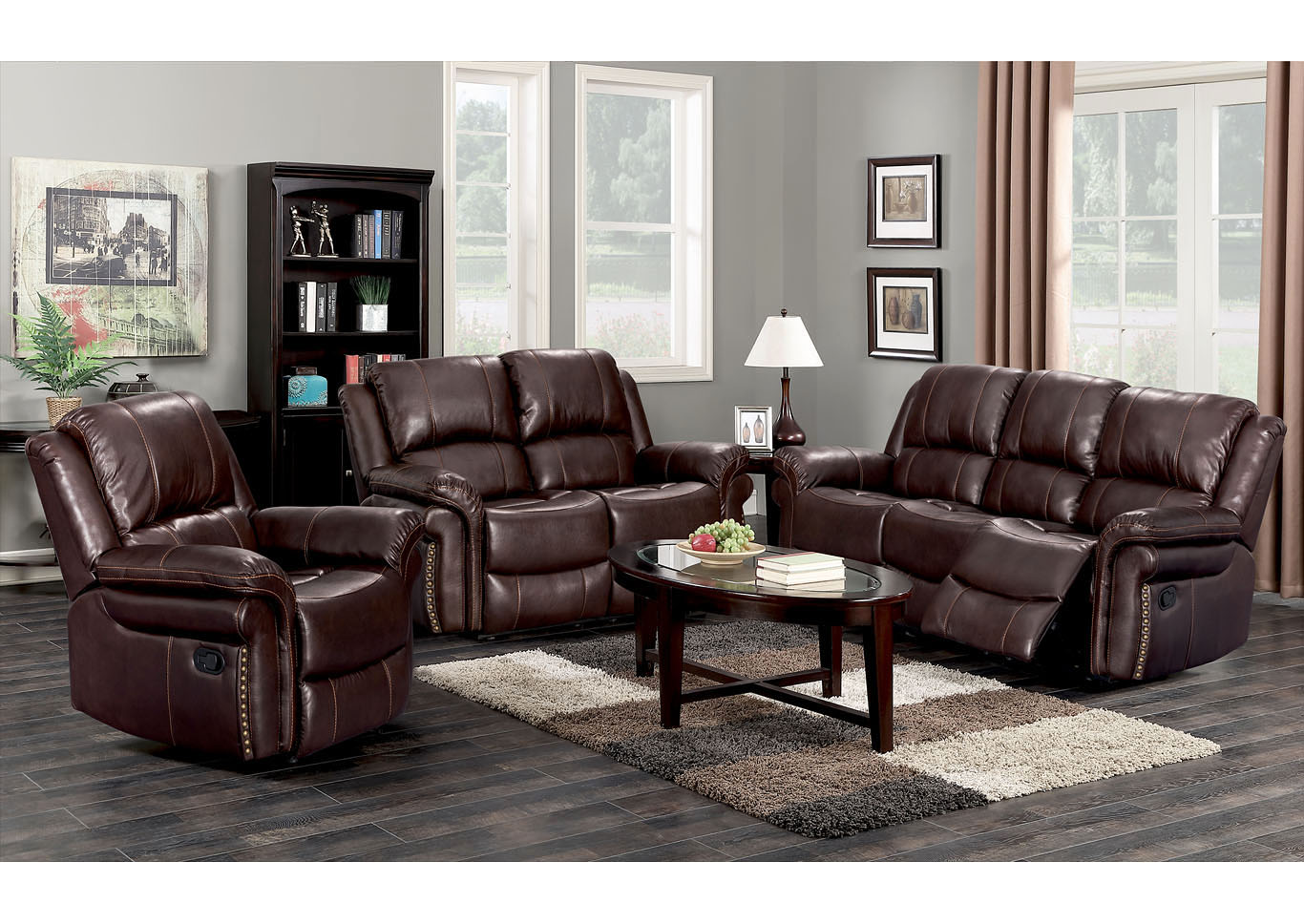 Dark Brown Sofa , Loveseat & Recliner,Global Trading
