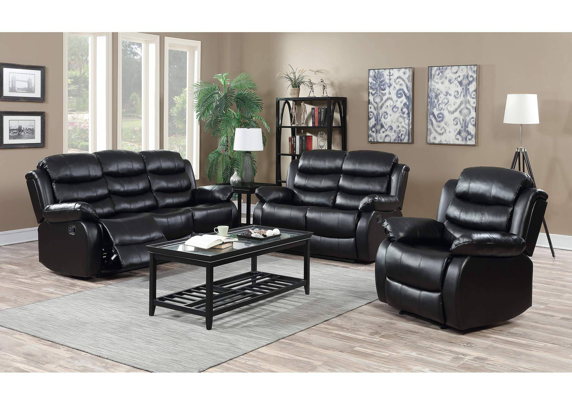 Black Reclining Sofa & Loveseat,Global Trading