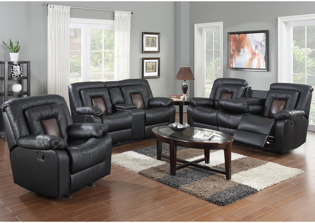 Cobra Black Reclining Sofa,Global Trading