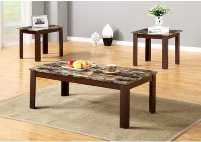 Brown 3 Piece Faux Marble Top Coffee And End Table Set