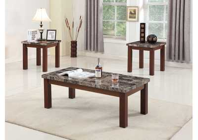 Brown 3 Piece Faux Marble Coffee & End Table Set