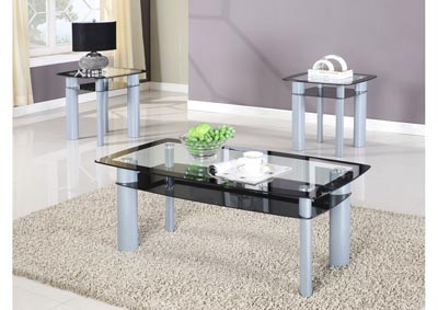 Black 3-Piece Glass Top Coffee Table Set