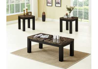 Brown 3 Piece Marble Top Coffee & End Table Set