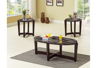 Grey 3 Piece Faux Marble Coffee & End Table Set