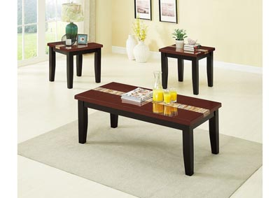 Brown 3 Piece Faux Marble Top Coffee & End Table Set