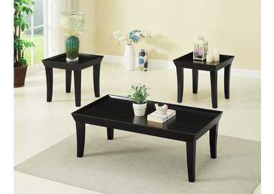 Black 3 Piece Cocktail & End Table Set