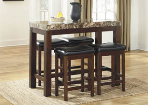 Faux Marble Counter Height Set