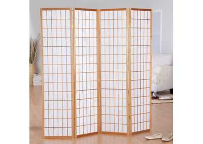 Image for Natural 4 Panel Divider Screen