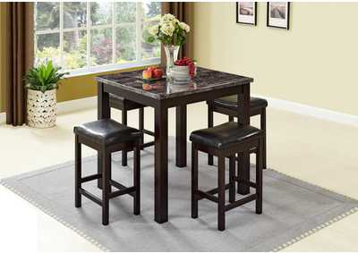 Brown 5 Piece Marble Top Dining Set w/ 4 Stools