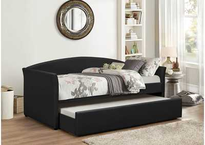 Image for Black Pu Day Bed w/Trundle and Slats