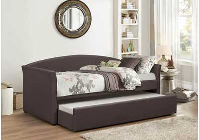 Image for Brown Pu Day Bed w/Trundle and Slats