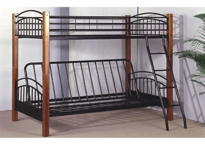 Brown Wood/Metal Twin/Futon Bunk Bed