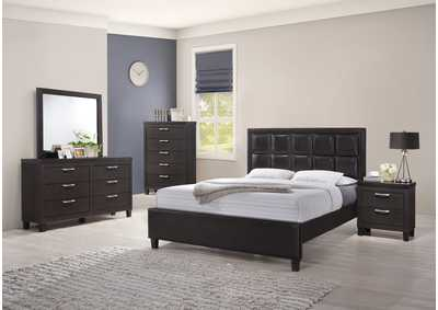 Dark Grey Panel Queen 4 Piece Bedroom Set W/ Chest, Dresser & Mirror