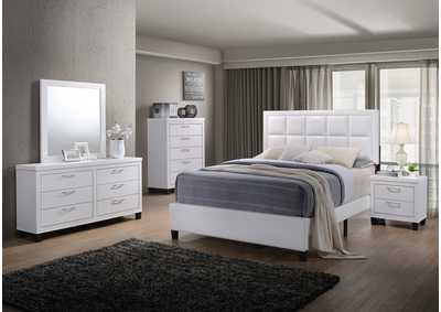 Culverbach White Panel Queen 5 Piece Bedroom Set W/ Nightstand, Chest, Dresser & Mirror
