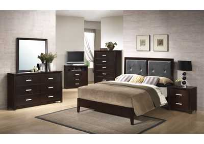 Cappuccino Panel Queen 4 Piece Bedroom Set W/ Nightstand, Dresser & Mirror