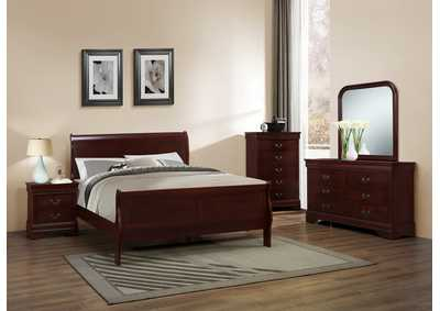 Louis Phillippe Cherry Sleigh Queen 6 Piece Bedroom Set W/ 2 Nightstand, Chest, Dresser & Mirror