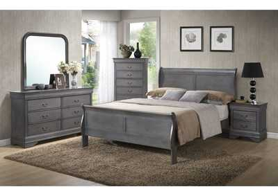 Louis Philippe Grey Queen Bed