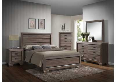 Sand Panel Queen 6 Piece Bedroom Set W/ 2 Nightstand, Chest, Dresser & Mirror