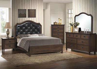 Brown Panel Queen 4 Piece Bedroom Set W/ Nightstand, Dresser & Mirror