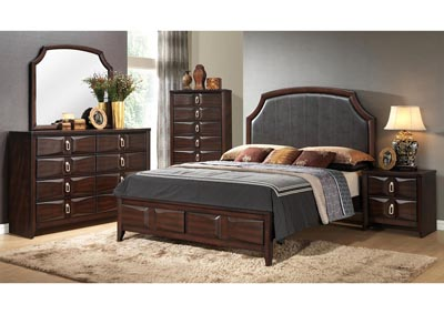 Brown Storage Queen 4 Piece Bedroom Set W/ Nightstand, Dresser & Mirror