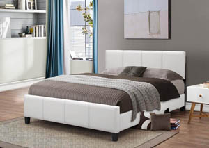 White PU Queen Bed