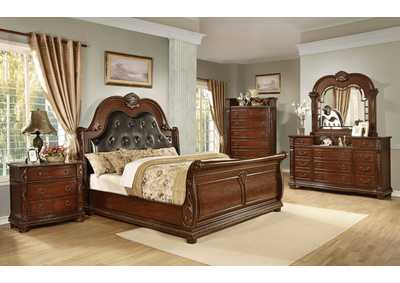 Lakeleigh Brown Sleigh Queen 4 Piece Bedroom Set W/ Chest, Dresser & Mirror