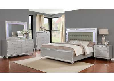 Halamay Silver Panel Queen 5 Piece Bedroom Set W/ Nightstand, Chest, Dresser & Mirror