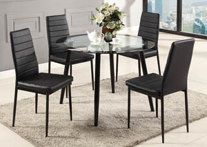 Black Glass Top Dinette (Set of 5)
