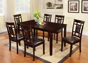 Wooden Dinette Set w/Faux Leather Cushion (Set of 7)