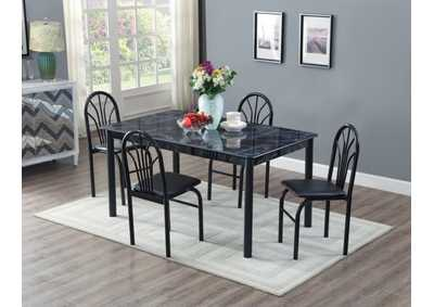 Black Marble Top Dinette W/ 4 Chairs