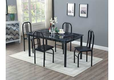 Black Marble Top Welded Dinette W/ 4 chairs