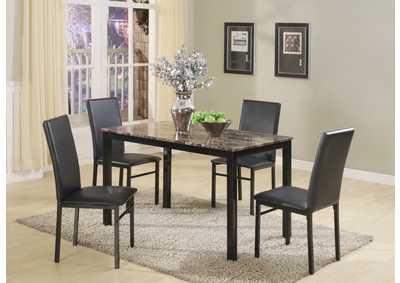 Black Marble Dinette W/ 4 Chairs