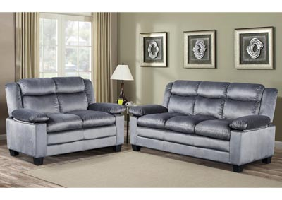 Silver Grey Reclining Sofa