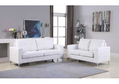 White Contemporary Leather Sofa (White) With Chrome Leg