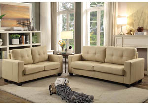 Image for Ivory Contemporary Faux Leather Sofa