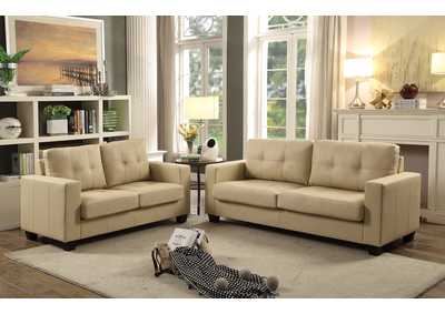 Beige Contemporary Leather Sofa & Loveseat