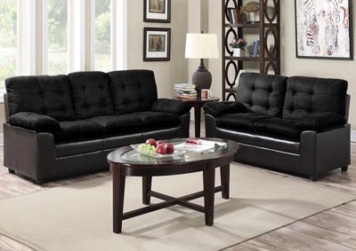 Black Microfiber Sofa & Loveseat