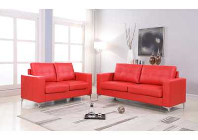 Red Contemporary Leather Loveseat (Red) With Chrome Leg