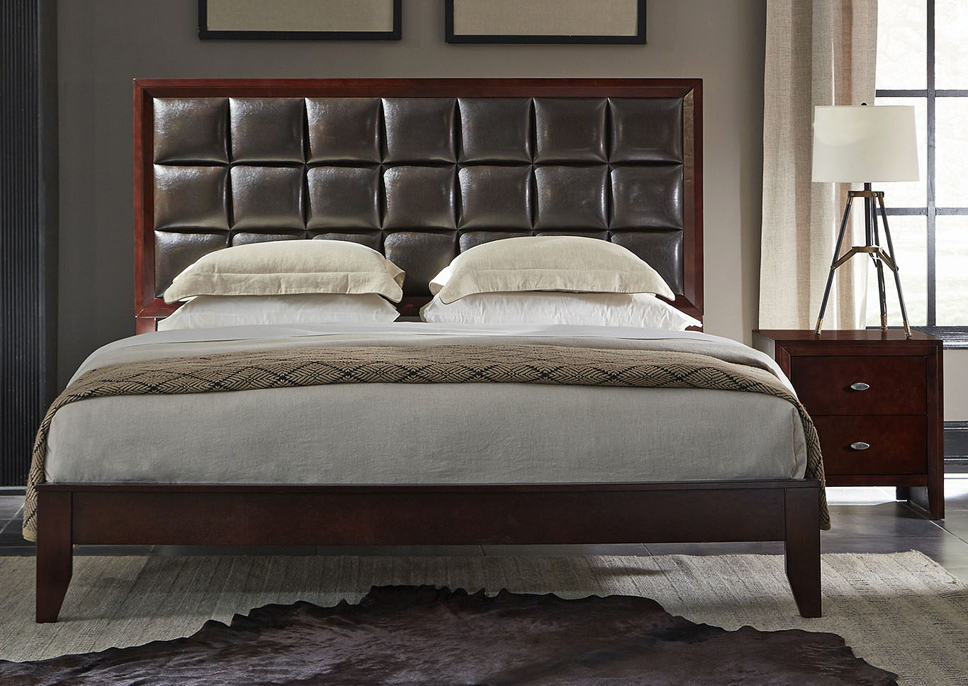 Carolina Cherry/Brown Upholstered Platform King Bed,Global Furniture USA
