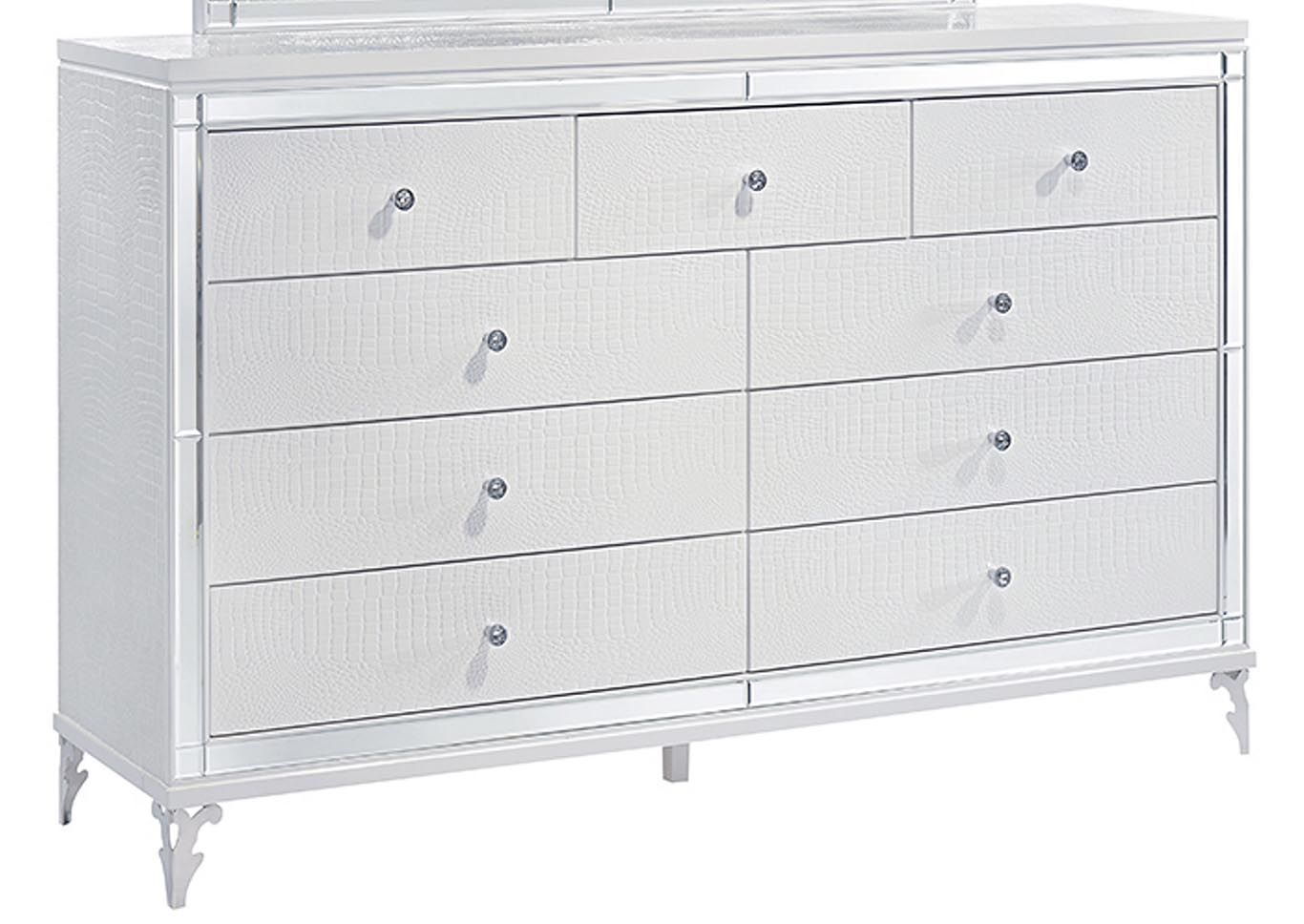 Catalina Metallic White Dresser,Global Furniture USA